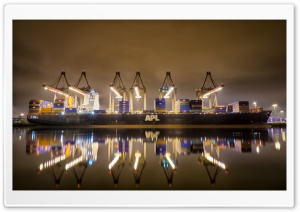 12 Cranes And A Ship   APL Washington HD Wide Wallpaper for Widescreen