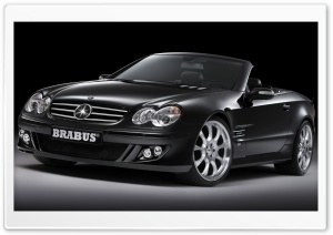 2006 BRABUS SV12 S Biturbo Roadster Mercedes Benz SL Class Silver Wheels Front Angle Top Down HD Wide Wallpaper for Widescreen