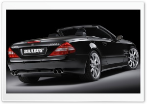 2006 BRABUS SV12 S Biturbo Roadster Mercedes Benz SL Class Silver Wheels Rear Angle Top Down HD Wide Wallpaper for Widescreen