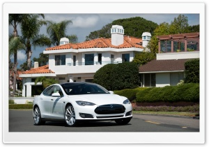 2013 Tesla Model S in White HD Wide Wallpaper for Widescreen