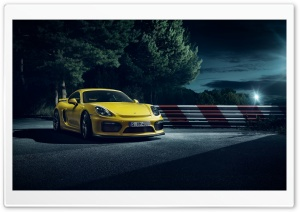2015 Porsche Cayman GT4 Yellow Car HD Wide Wallpaper for 4K UHD Widescreen desktop & smartphone