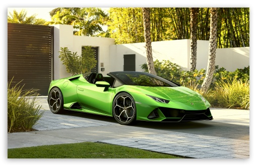 2019 Green Lamborghini Huracan Evo Spyder Supercar 4k Hd