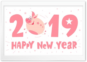 2019 Happy New Pig Year HD Wide Wallpaper for 4K UHD Widescreen desktop & smartphone