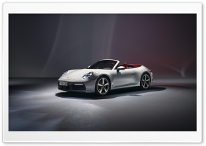 2019 White Porsche 911 Carrera Cabriolet Car Ultra HD Wallpaper for 4K UHD Widescreen desktop, tablet & smartphone
