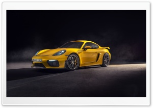 2019 Yellow Porsche 718 Cayman GT4 Car Ultra HD Wallpaper for 4K UHD Widescreen desktop, tablet & smartphone