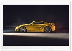 2019 Yellow Porsche 718 Cayman GT4 Sports Car Ultra HD Wallpaper for 4K UHD Widescreen desktop, tablet & smartphone