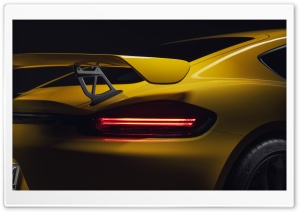 2019 Yellow Porsche 718 Cayman GT4 Sports Car Taillights Ultra HD Wallpaper for 4K UHD Widescreen desktop, tablet & smartphone