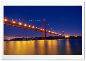 25 de Abril Bridge, Night, Tagus River, Portugal HD Wide Wallpaper for 4K UHD Widescreen desktop & smartphone