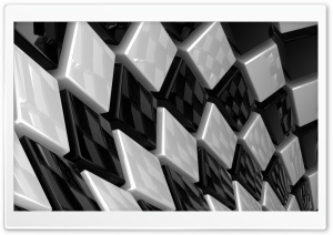 3D Cubes Black And White HD Wide Wallpaper for Widescreen