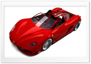 3D Red Ferrari Convertible HD Wide Wallpaper for Widescreen