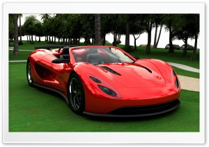 3D Red Supercar HD Wide Wallpaper for Widescreen