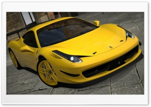 458 Italia Matte Yellow HD Wide Wallpaper for Widescreen