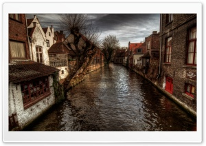 A Canal In Bruges HD Wide Wallpaper for 4K UHD Widescreen desktop & smartphone