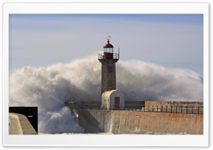 A Huge Wave Crashing Over A Lighthouse HD Wide Wallpaper for Widescreen