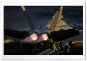 A Jet Launches From The Flight Deck HD Wide Wallpaper for Widescreen