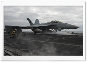 A Jet Launches from the Flight Deck of USS Carl Vinson HD Wide Wallpaper for Widescreen