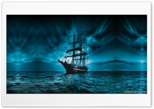 A lone ship in the night Ultra HD Wallpaper for 4K UHD Widescreen desktop, tablet & smartphone