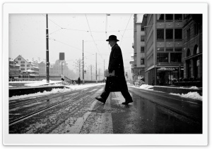 A Man Crossing The Street HD Wide Wallpaper for Widescreen