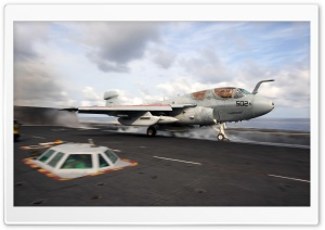 A Prowler launches from the flight deck of USS Dwight D. Eisenhower HD Wide Wallpaper for Widescreen