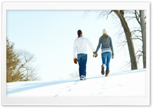 A Romantic Walk Through The Snow HD Wide Wallpaper for 4K UHD Widescreen desktop & smartphone
