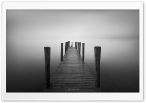 A Simple Wooden Pier, Fog, Black and White HD Wide Wallpaper for 4K UHD Widescreen desktop & smartphone