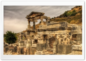 A Temple in the Ruins of Ephesus, Turkey HD Wide Wallpaper for 4K UHD Widescreen desktop & smartphone