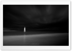 A view of Talacre Lighthouse, Night, Black and White Ultra HD Wallpaper for 4K UHD Widescreen desktop, tablet & smartphone