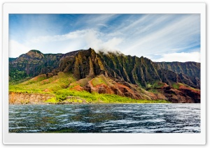 A view of the Na Pali Coast from the ocean HD Wide Wallpaper for Widescreen