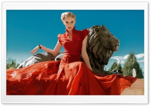 A Woman in a Red Dress, Lion Statue HD Wide Wallpaper for 4K UHD Widescreen desktop & smartphone