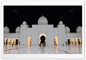 Abu Dhabi Mosque Night [8566432481] HD Wide Wallpaper for 4K UHD Widescreen desktop & smartphone