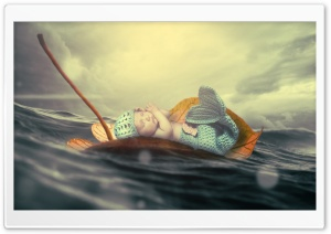 Adorable Baby Mermaid HD Wide Wallpaper for 4K UHD Widescreen desktop & smartphone