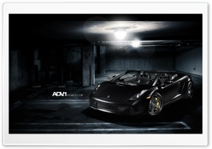 ADV.1 Matte Black Lamborghini Gallardo Spyder HD Wide Wallpaper for Widescreen