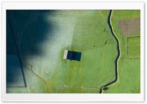Aerial Photography Landscape, House, Hoarfrost, Green Field Ultra HD Wallpaper for 4K UHD Widescreen desktop, tablet & smartphone