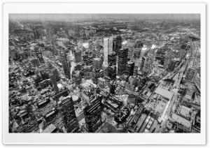 Aerial Photography, Toronto, Black and White HD Wide Wallpaper for Widescreen