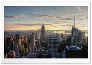 Aerial View Of Empire State Building HD Wide Wallpaper for 4K UHD Widescreen desktop & smartphone