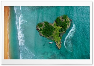 Aerial View Of Heart-Shaped Tropical Island HD Wide Wallpaper for 4K UHD Widescreen desktop & smartphone