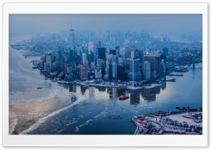 Aerial view of Manhattan, New York City HD Wide Wallpaper for Widescreen