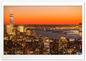Aerial View Of New York City At Dusk HD Wide Wallpaper for 4K UHD Widescreen desktop & smartphone