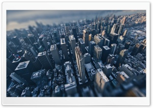Aerial View of New York City Tilt Shift Photography HD Wide Wallpaper for Widescreen
