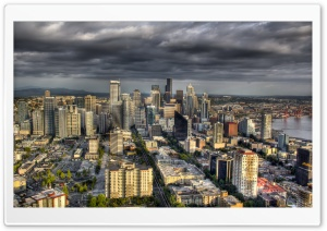 Aerial View Of Seattle, Washington HD Wide Wallpaper for 4K UHD Widescreen desktop & smartphone