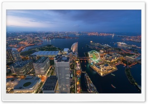 Aerial View Of Yokohama, Japan HD Wide Wallpaper for 4K UHD Widescreen desktop & smartphone