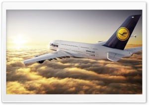 Airbus A380 Lufthansa HD Wide Wallpaper for Widescreen