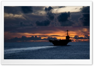 Aircraft Carrier At Sunset HD Wide Wallpaper for Widescreen