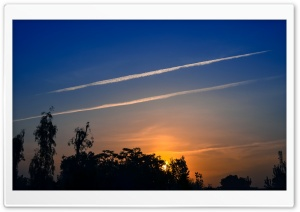 Airplane Tracks Sky HD Wide Wallpaper for Widescreen