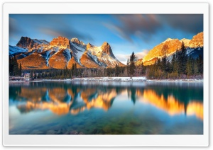 Alberta Canada Beautiful Winter Reflections HD Wide Wallpaper for Widescreen