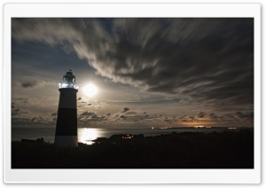 Alderneys Lighthouse Overlooking the French Coast Under a Full Moon HD Wide Wallpaper for Widescreen