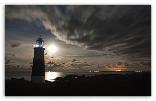 Alderneys Lighthouse Overlooking the French Coast Under a Full Moon ❤ 4K UHD Wallpaper for Wide 16:10 5:3 Widescreen WHXGA WQXGA WUXGA WXGA WGA ; 4K UHD 16:9 Ultra High Definition 2160p 1440p 1080p 900p 720p ; UHD 16:9 2160p 1440p 1080p 900p 720p ; Mobile 5:3 16:9 - WGA 2160p 1440p 1080p 900p 720p ;