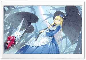 Alice In Wonderland And The White Rabbit Anime HD Wide Wallpaper for Widescreen