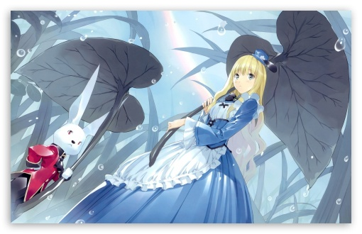 Alice In Wonderland And The White Rabbit Anime HD wallpaper for Wide 16:10 5:3 Widescreen WHXGA WQXGA WUXGA WXGA WGA ; HD 16:9 High Definition WQHD QWXGA 1080p 900p 720p QHD nHD ; Standard 4:3 3:2 Fullscreen UXGA XGA SVGA DVGA HVGA HQVGA devices ( Apple PowerBook G4 iPhone 4 3G 3GS iPod Touch ) ; iPad 1/2/Mini ; Mobile 4:3 5:3 3:2 - UXGA XGA SVGA WGA DVGA HVGA HQVGA devices ( Apple PowerBook G4 iPhone 4 3G 3GS iPod Touch ) ;