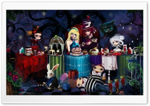 Alice In Wonderland Tea Party HD Wide Wallpaper for Widescreen